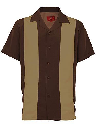 Ginoken Men's Two Panel Retro 50s Bowling Casual Dress Short Sleeve Shirt ()