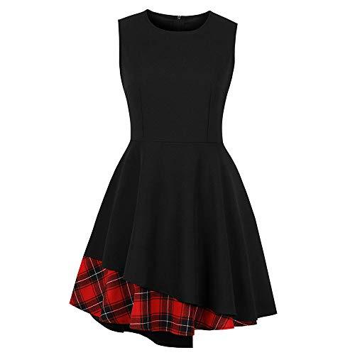 - Kehen Women Plaid Audrey Hepburn 1950s Vintage Cocktail Rockabilly Swing Dress Black X-Large (US:10)