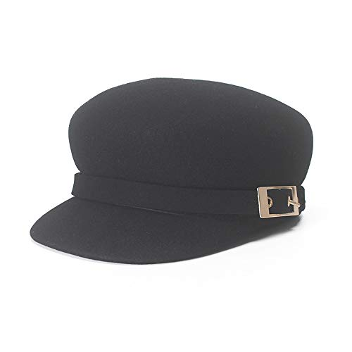 S.Y.MMSY Women Cap Beret Cap Autumn Winter Ladies Casual Woolen Octagonal Cap Alloy Buckle Ornamental Black Top Hat (Color : Black, Size : 56-58CM)