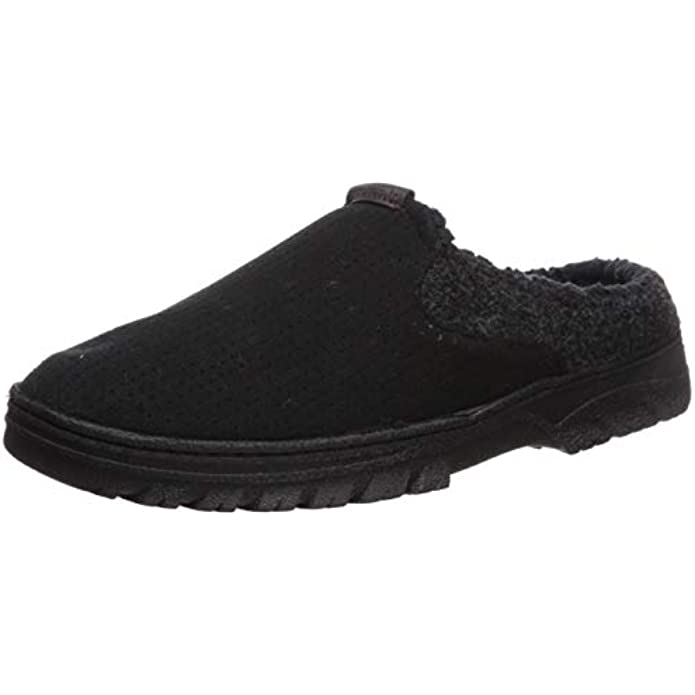 Dearfoams Men's Breathable Perforted Microsuede Clog Slipper