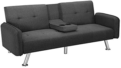 poplarbox Convertible Futon Sofa Bed with Cup Holders 74.8 , Fold Up Down Recliner Couch Sleeper Sofa Bed with Removable Armrests, Metal Legs- 3 to 6 Business Days Arrive Dark Gray
