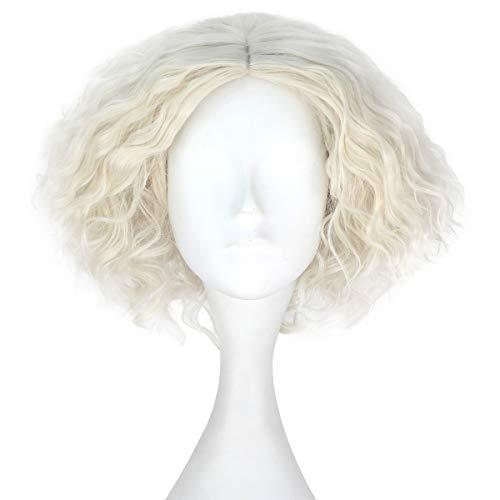 Miss U Hair Synthetic Short Fluffy Curly Hair Men Boy Party Cosplay lolita Wig Halloween Adult(Beige)