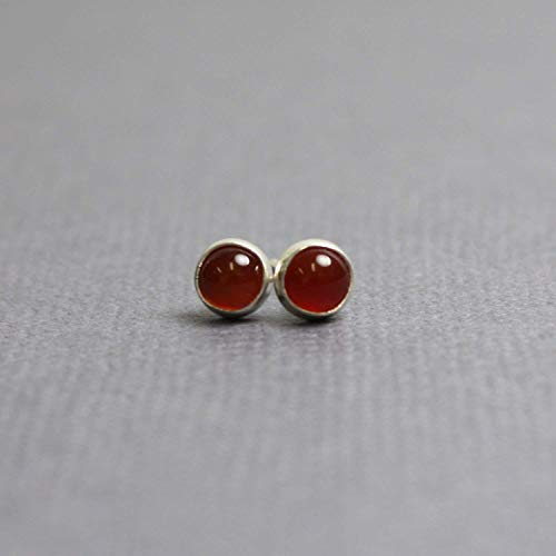 Red Carnelian Stud Earrings, Small 4mm, Sterling Silver