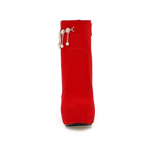 AllhqFashion Mujeres Caña Baja Sólido Puntera Cerrada Redonda Tacón ancho Botas con Colgantes Rojo