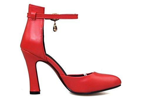 di tribunale singoli solido professionale fibbia tacco carriera alto della nozze XIE RED 38 39 colore col profonda di scarpe poco pattini aguzza bocca scarpe di punta diamante red qWZzgZU1d