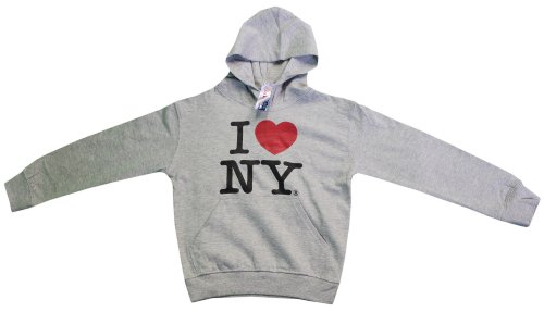 Kids Love Hoodie (I Love NY New York Kids Hoodie Screen Print Heart Sweatshirt Gray Medium (10-12))