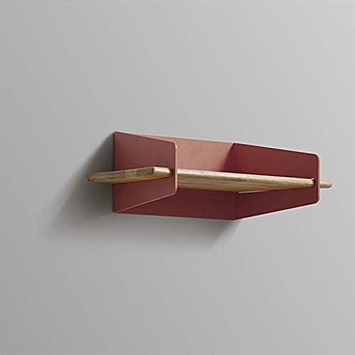 フローティング棚フローティング棚多機能壁掛け金属製品収納陳列台無垢材製羽目板20×22.5cm SYFO (Color : Red)