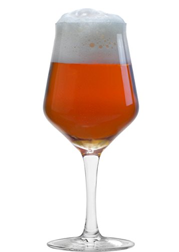 MasterBrew 8601 Amber 14 oz Tulip Glass-(2 PACK) gift box Beer Glasses, Clear