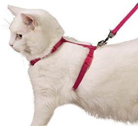 Ducomi Silvestro - Arnés Ajustable con Correa para Gatos, Conejos y Cachorros - Ideal en Paseos y Visitas al Veterinario - Accesorio para Mantener a Sus Mascotas Seguras (Rosa)