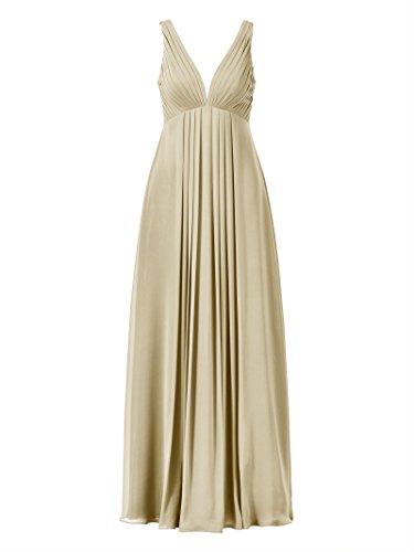 Prom V Dress Sleeveless Dress Evening Champagne Bridesmaid Neck Long Party Alicepub Empire fBdnaC8wCx