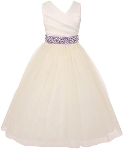 Little Girls Ivory Rhinestone Belt Communion Flowers Girls Dresses Lilac 4 (MB27K6) -