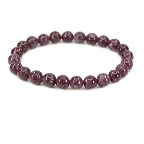 Natural Lepidolite Lithium Mica Handmade Gemstone 8mm Round Beads Elastic Bracelet 7