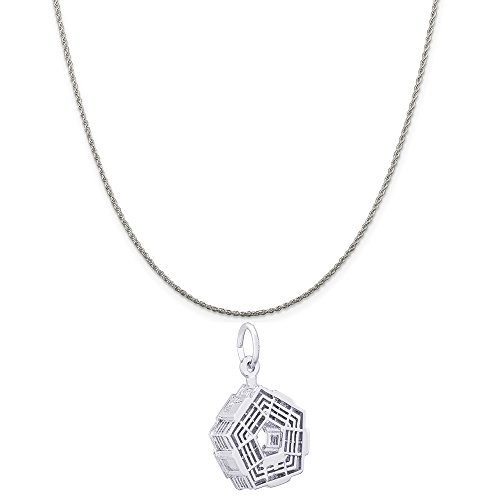 Rembrandt Charms Sterling Silver Pentagon Charm on a Sterling Silver Rope Chain Necklace, 20