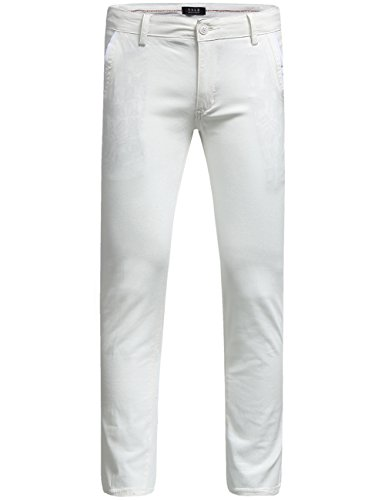 SSLR Men's Hybrid Stretch Casual Slim Fit Pants (W36 x L34, White) by SSLR