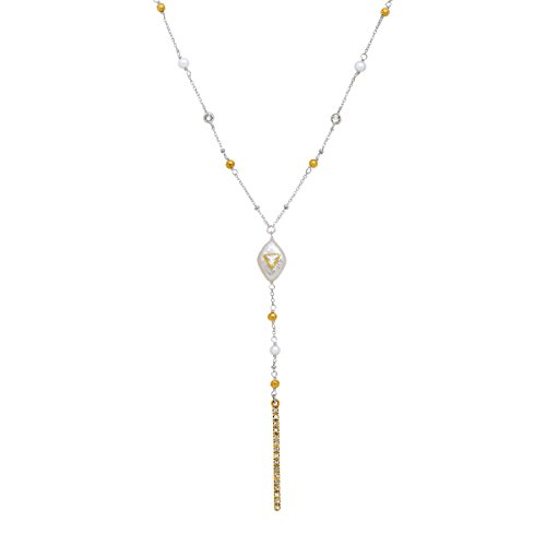 (Silpada 'Fall in Line' Freshwater Baroque Cultured Pearl Drop Necklace with Swarovski Crystals in Sterling Silver & Brass)