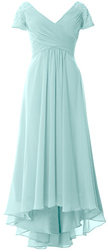 MACloth Cap Sleeves V Neck High Low Mother of Bride Dress Evening Formal Gown Aqua
