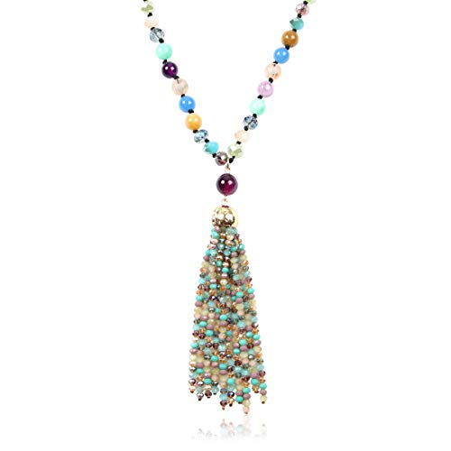 RIAH FASHION Bohemian Pendant Beaded Long Statement Necklace - Sparkly Crystal Bead Boho Teardrop, Natural Stone, Tassel Charm Wrap Lariat (Beaded Tassel - Multi)