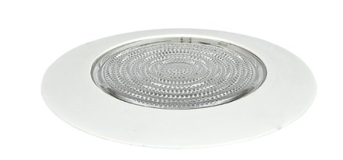 """Sunset Lighting F9972-30 Accessory - 6"""" Fresnel Shower Trim, White Finish with Clear Glass"""