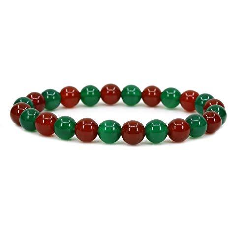 AA Grade Red Agate Gemstone 8mm Ball Beads Stretch Bracelet 7