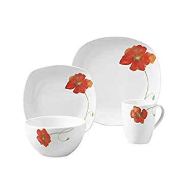 Palermo 16pc Soft Square Porcelain Dinnerware Set  sc 1 st  Amazon.com & Amazon.com: Palermo 16pc Soft Square Porcelain Dinnerware Set: Home ...
