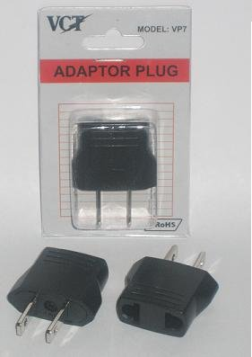 VCT VP7 Adapter Plug for USA Plug Converts Europe/German/Asian Round Pin Plugs to American Plug - RoHS Compliant