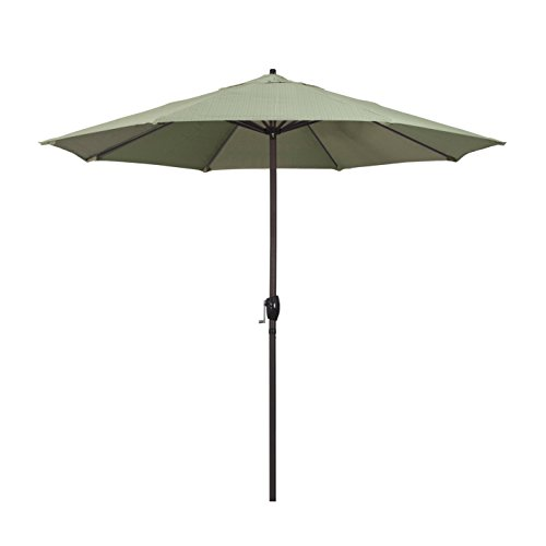 Olefin Terrace - California Umbrella 9' Round Aluminum Market Umbrella, Crank Lift, Auto Tilt, Bronze Pole, Terrace Fern Olefin