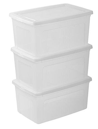 Iris 104371.0 Set von 3 Aufbewahrungsboxen mit Deckel, Ordnungssystem 50 L, Stapelbare, Kunststoffbox, transparent
