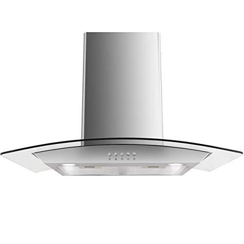 Richman789 30'' Stainless Wall Mount Kitchen Range Hood Steel Tempered Glass w/LED (30' Black Range Hood)