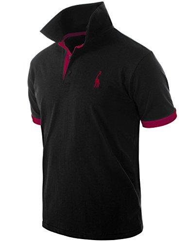 Pinkpum Men's Polo Shirt Short Sleeve Sloid Cotton Pique Polo Breathable Golf Tennis M-XXL (T23Black, M)