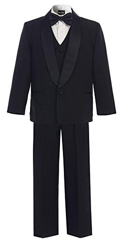 OLIVIA KOO Boys Perfect Fit Classic Tuxedo Suit With No Tail Black One Button 5