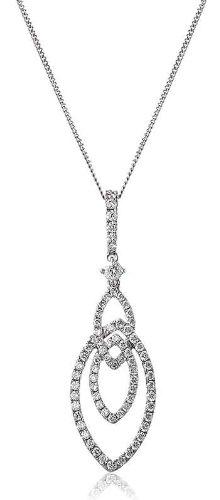 0.36CT Certified G/VS2 Round Brilliant Cut Marquise Shape Sliding Diamond Pendant in 18K White Gold