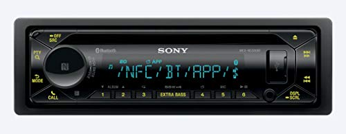 Sony MEX-N5300BT Built-in Dual Bluetooth Voice Command CD/MP3 AM/FM Radio Front USB AUX Pandora Spotify iHeartRadio iPod / iPhone Siri and Android Controls Car Stereo Receiver with ALPHASONIK EARBUDS
