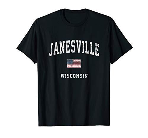 Janesville Wisconsin WI Vintage American Flag Sports Design T-Shirt