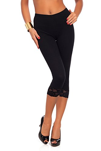 - Futuro Fashion Cropped 3/4 Lenght Cotton Leggings with Lace All Colours & All Sizes Black