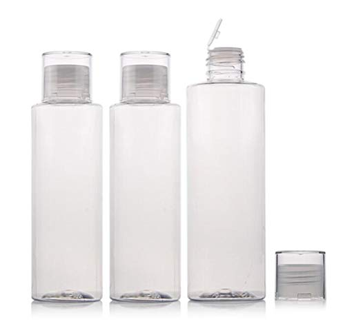 3Pcs 150ml/5oz Empty Refillable Clear Plastic Soft Tube Squeezable Bottle With Flip Cover Cosmetic Makeup Bath Shower Gel Lotion Liquid Shampoo Storage Container Jars