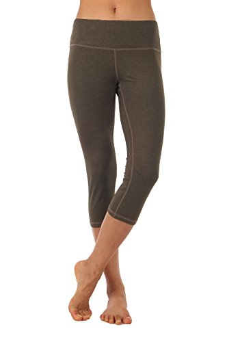 ZEROGSC Women's Yoga Pants - Workout Running Tummy Control Stretch Power Flex Long/Capris Leggings (YPW102-Olive-X-Large) Brown Capri Pant