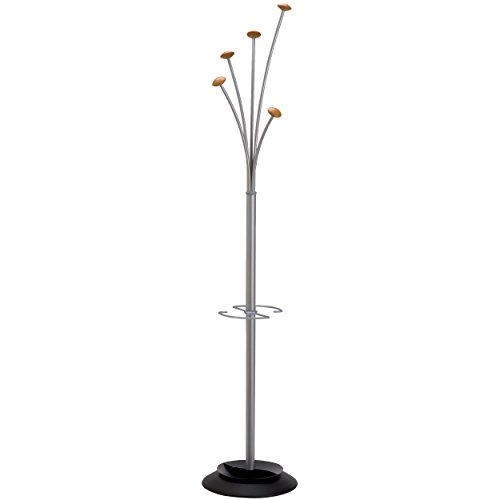 Alba Festival Coat Tree With Umbrella Holder and Five Knobs, Metal/Wood (PMFEST)