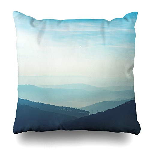 (Ahawoso Throw Pillow Covers Sky Blue Amazing Layers Mountain Da LAT Vietnam Nature Air Parks Camera City Climbing Design Home Decor Zippered Pillowcase Square Size 20 x 20 Inches Cushion Case)
