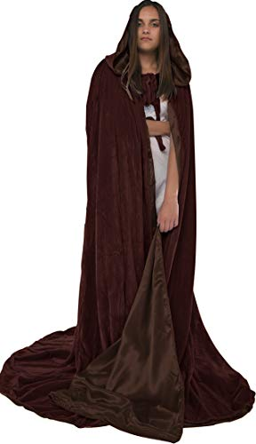 Artemisia Designs Velvet Hooded Renaissance Cloak Medieval Cape Lined with Satin Men and Women Brown]()