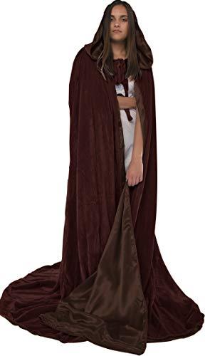 Artemisia Designs Velvet Hooded Renaissance Cloak Medieval Cape Lined with Satin Men and Women Brown -
