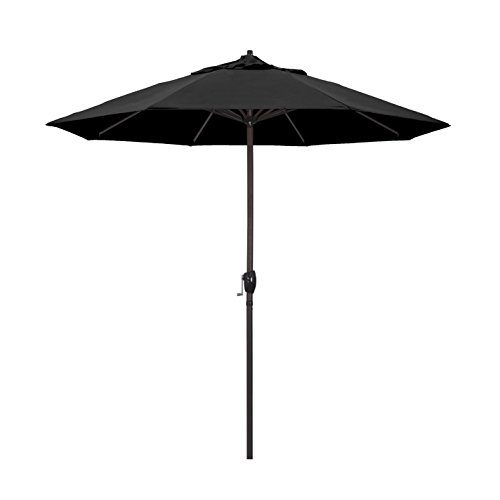 California Umbrella 9' Round Aluminum Market Umbrella, Crank Lift, Auto Tilt, Bronze Pole, Black Olefin