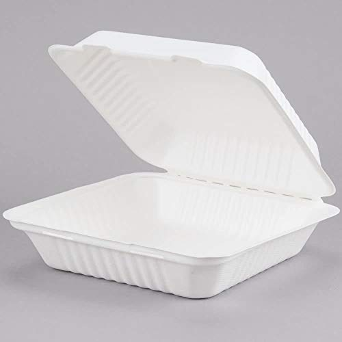 Earthchoice 7x7 75-Count, 1-Compartment, Compostable Clamshell, Natural Bagasse (Sugarcane Fiber), Take-Out/to-Go Food Boxes - Biodegradable Containers, Hinged Lid - Microwave-Safe - Gluten-Free