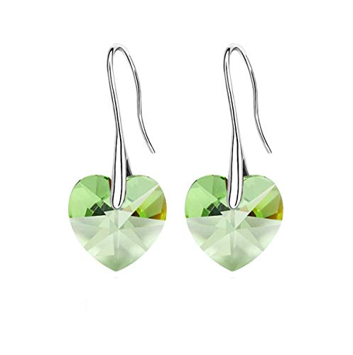 Earring for Women/Girls | Drop Hearts Crystals Earrings for Women | Silver Earring Jewelry (Color:Peridot)