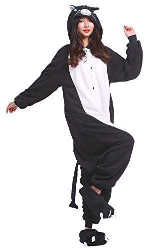 Nero Pigiama Adulto Unisex Kigurumi Cosplay Animali Costume Gatto H6fn1H0