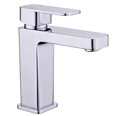 GOOAO Single Handle Vanity Bathroom Faucet All Brass Stainless Steel Basin Mixer Taps Chrome