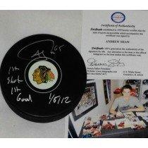 Andrew Shaw Chicago Blackhawks Autographed Signed Hockey Puck UNIQUE 1st Goal 1st Shot ()