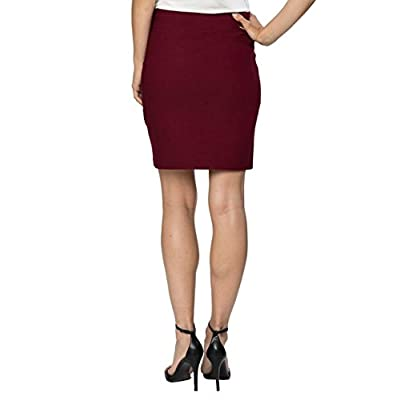 """Velucci Womens Stretchable Mini Pencil Skirt - Above The Knee 19"""" Length Classic Skirt for Office Work Wear at Women's Clothing store"""