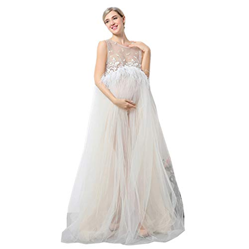 DVOTINST Photography Props Maternity Dresses for Photo Shoot, Elegant and Soft Pregnancy Dress Pregnant White Lace Perspective Studio Prop ()