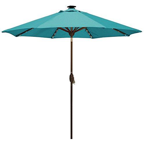 SORARA Patio Umbrella with Solar Powered 64 LED Lights Market Outdoor Umbrella with Tilt Crank Umbrella Cover, 9 Feet, Aruba