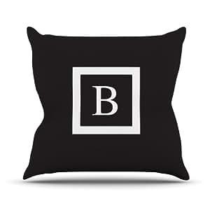 """Kess Inhouse Kess Original """"Monogram negro sólido letra B"""" al aire libre manta almohada, 16por 40,64cm"""